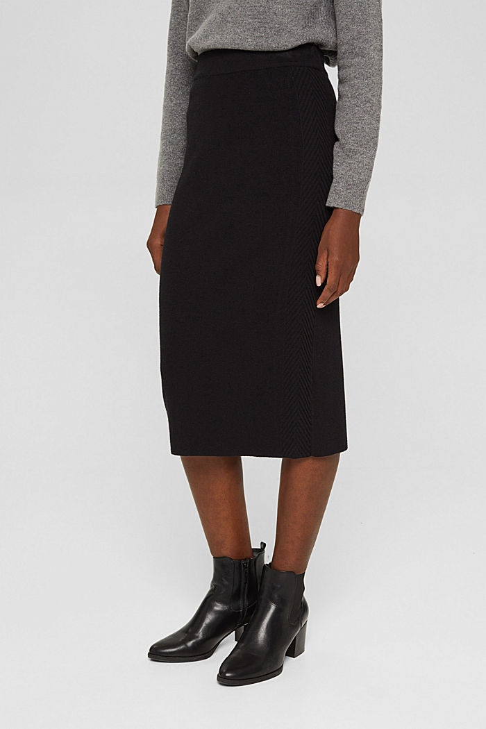 Knitted pencil skirt with textured sides, BLACK, detail image number 0