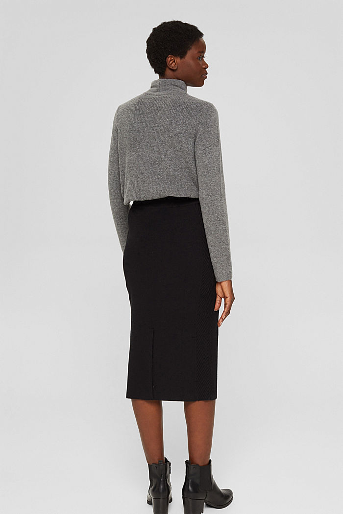 Knitted pencil skirt with textured sides, BLACK, detail image number 3