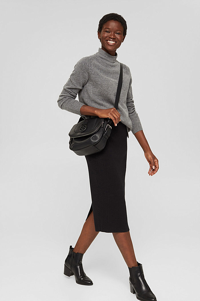Knitted pencil skirt with textured sides, BLACK, detail image number 1