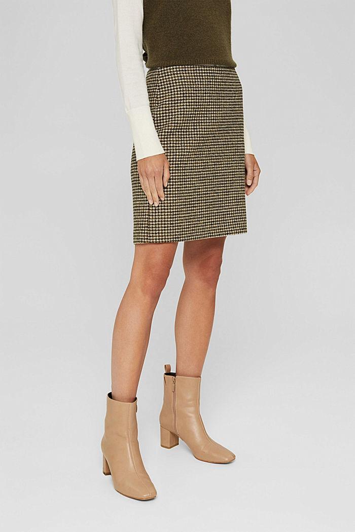 Con lana: gonna con motivo pied de poule