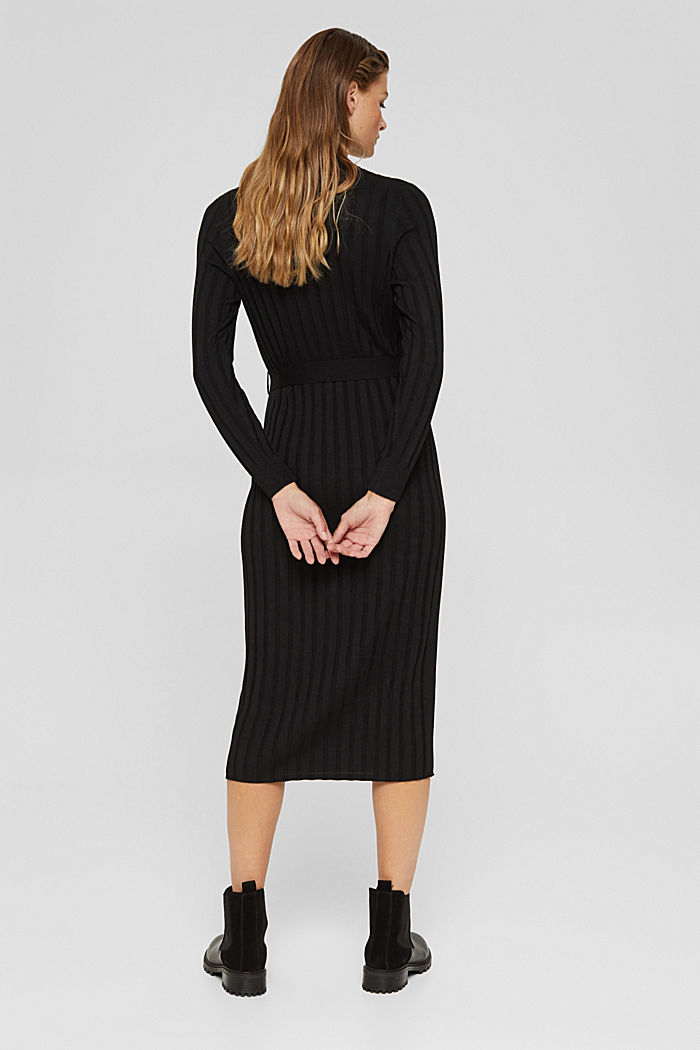 Recycled: rib knit dress with belt, BLACK, detail image number 2