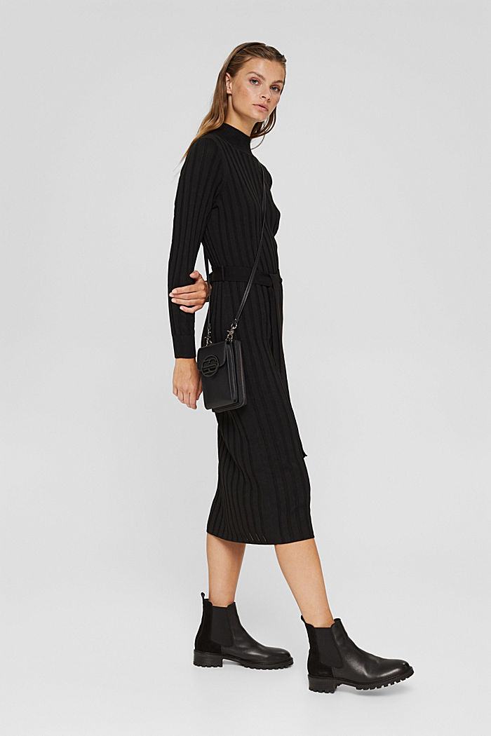 Recycled: rib knit dress with belt, BLACK, detail image number 1