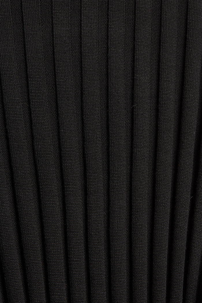 Recycled: rib knit dress with belt, BLACK, detail image number 4