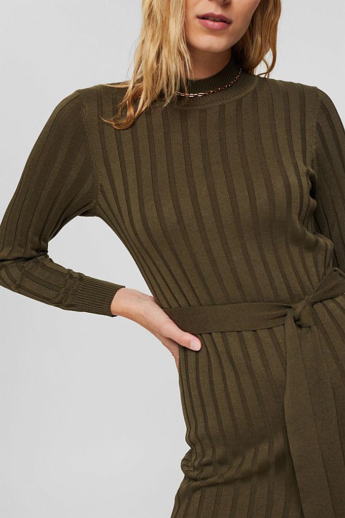 Gerecycled: ribgebreide jurk met ceintuur, DARK KHAKI, detail image number 3