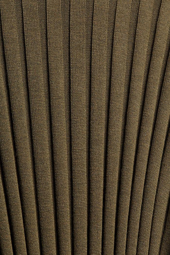 Gerecycled: ribgebreide jurk met ceintuur, DARK KHAKI, detail image number 4