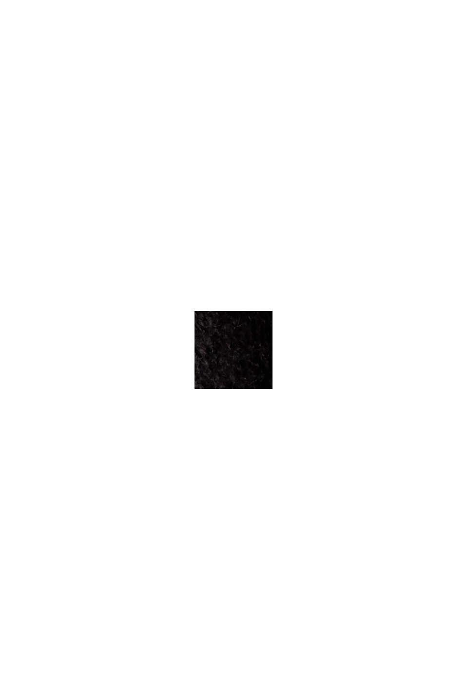 Con lana: vestido de punto con diseño de corte en O, BLACK, swatch