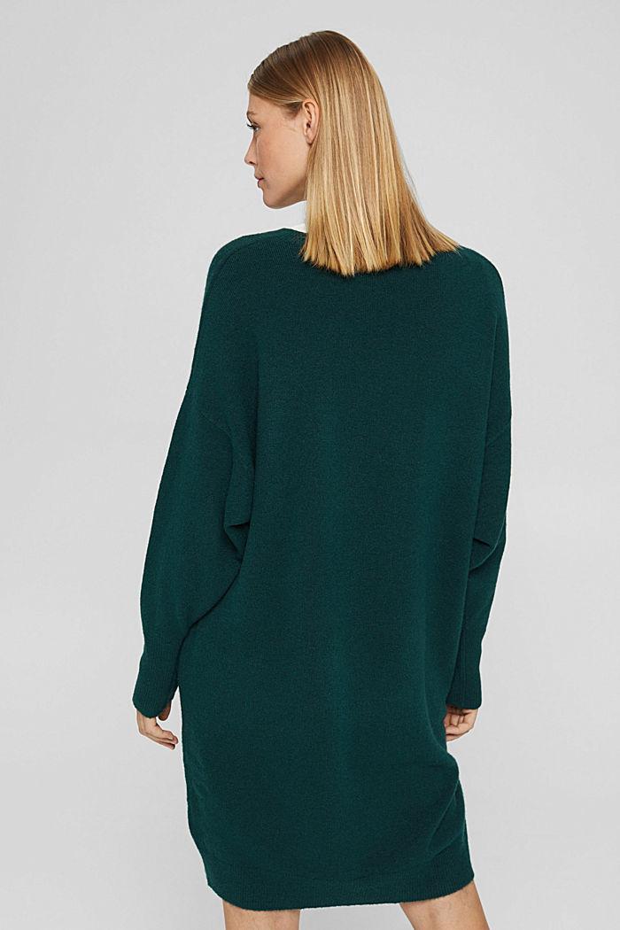 Mit Wolle: Strickkleid mit O-Shape, DARK TEAL GREEN, detail image number 2