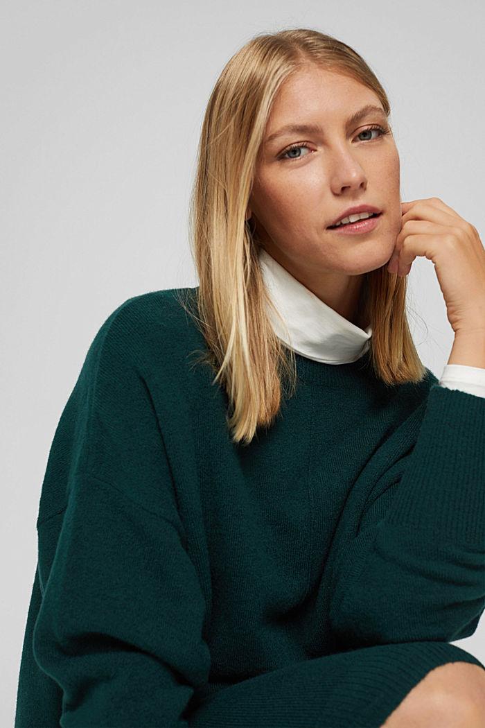 Mit Wolle: Strickkleid mit O-Shape, DARK TEAL GREEN, detail image number 6