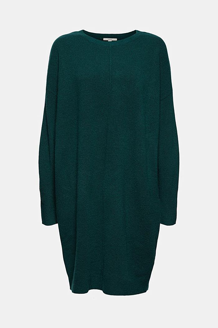 Mit Wolle: Strickkleid mit O-Shape, DARK TEAL GREEN, detail image number 8