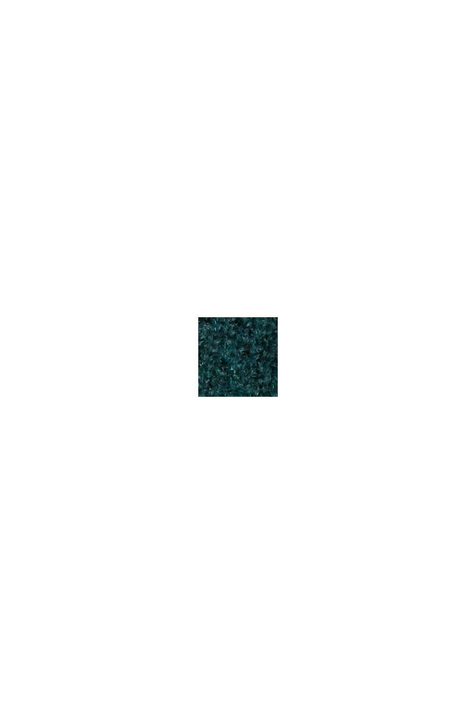 Con lana: vestido de punto con diseño de corte en O, DARK TEAL GREEN, swatch
