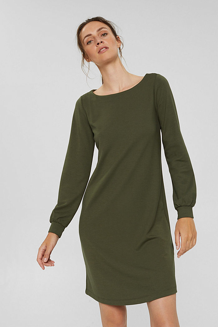 Recycled: sweatshirt dress in blended fabric, DARK KHAKI, detail image number 0