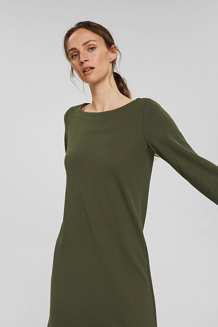 Recycled: sweatshirt dress in blended fabric, DARK KHAKI, detail image number 5