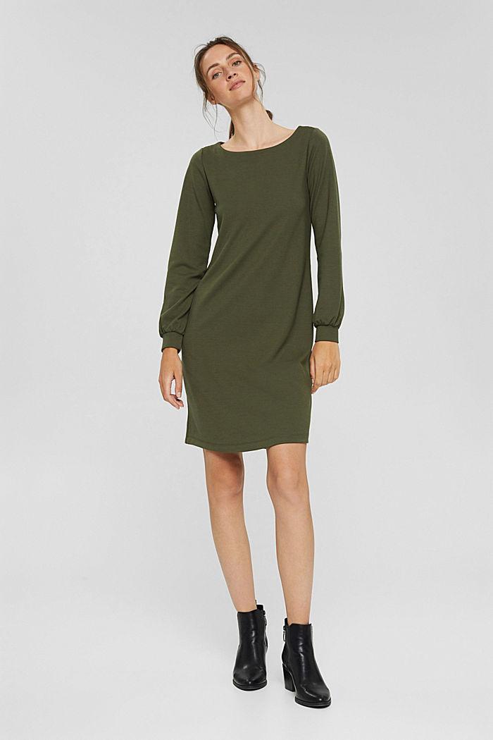 Recycled: sweatshirt dress in blended fabric, DARK KHAKI, detail image number 8