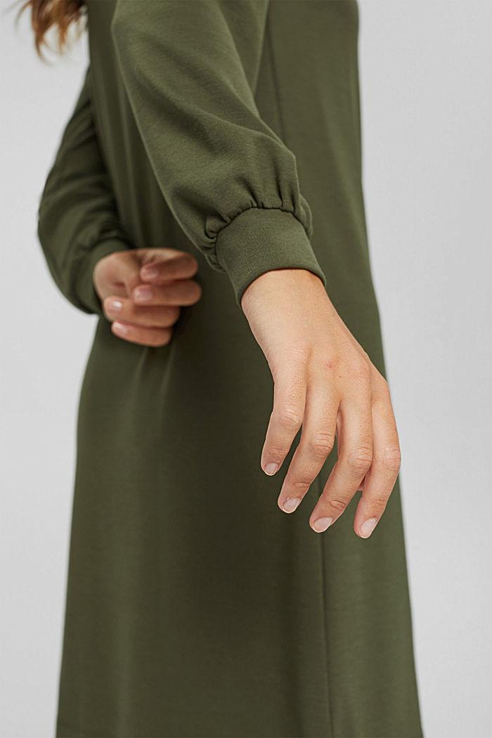 Recycled: sweatshirt dress in blended fabric, DARK KHAKI, detail image number 6