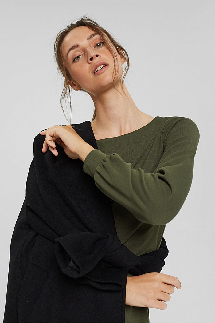 Recycled: sweatshirt dress in blended fabric, DARK KHAKI, detail image number 7