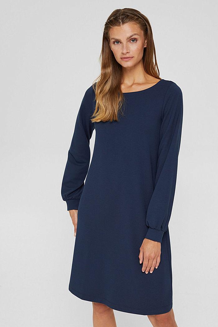 En matière recyclée: la robe molletonnée en mélange de matières, NAVY, detail image number 0