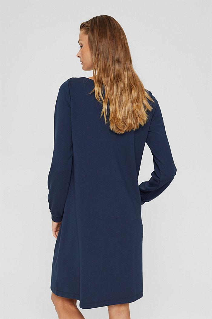 En matière recyclée: la robe molletonnée en mélange de matières, NAVY, detail image number 2