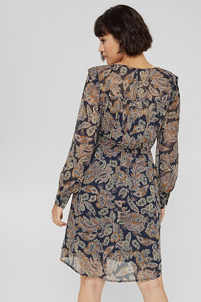 Gerecycled: chiffon jurk met paisleyprint, NAVY, detail image number 2