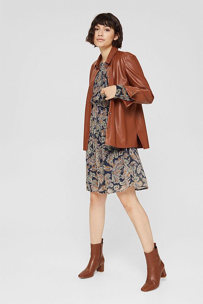 Gerecycled: chiffon jurk met paisleyprint, NAVY, detail image number 1