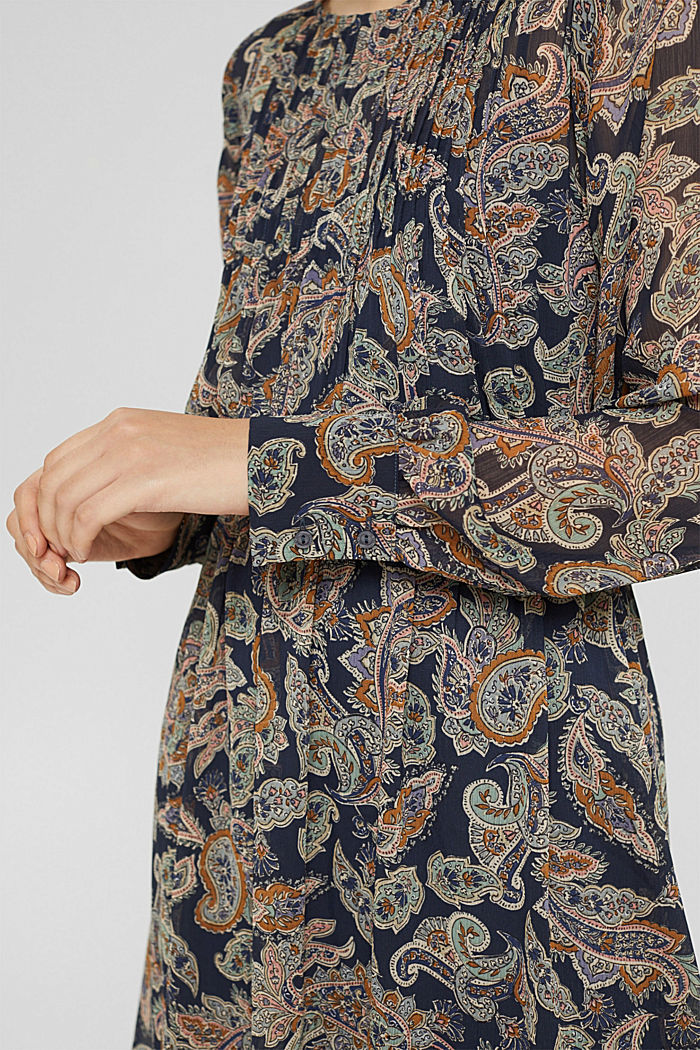Gerecycled: chiffon jurk met paisleyprint, NAVY, detail image number 3