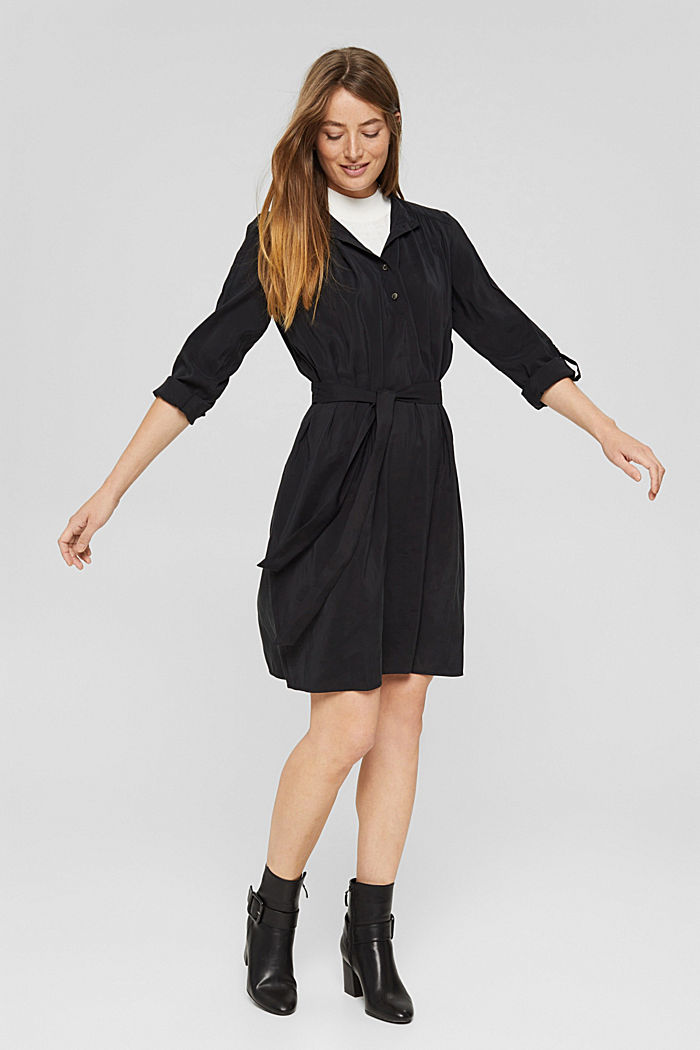 Blusenkleid mit LENZING™ ECOVERO™, BLACK, detail image number 1