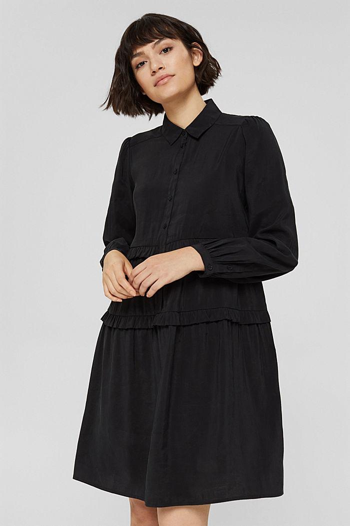 Hemdblusenkleid mit LENZING™ ECOVERO™, BLACK, detail image number 0