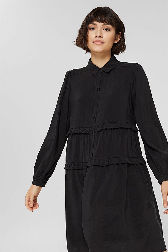 Hemdblusenkleid mit LENZING™ ECOVERO™, BLACK, detail image number 5
