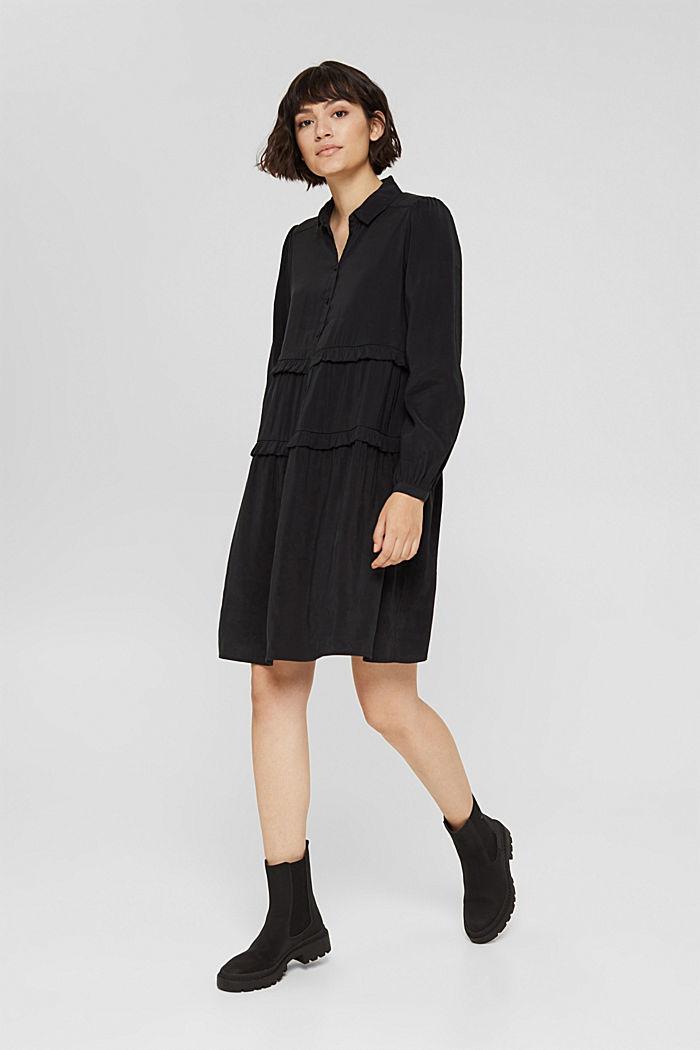 Hemdblusenkleid mit LENZING™ ECOVERO™, BLACK, detail image number 1