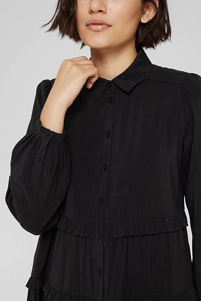 Hemdblusenkleid mit LENZING™ ECOVERO™, BLACK, detail image number 3