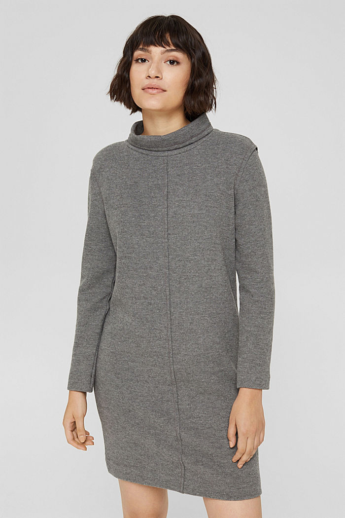 Knitted dress in blended organic cotton, GUNMETAL, detail image number 0