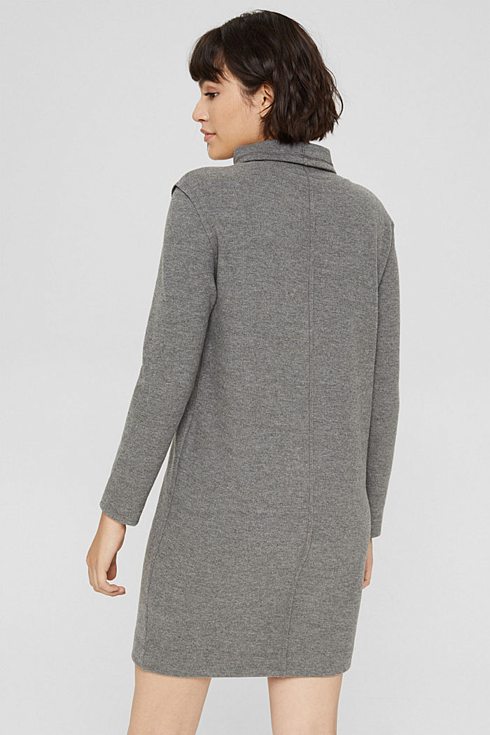 Knitted dress in blended organic cotton, GUNMETAL, detail image number 2