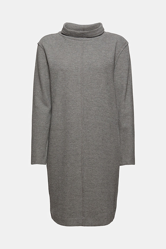 Knitted dress in blended organic cotton, GUNMETAL, detail image number 6