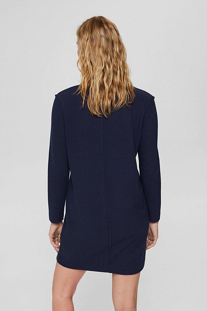 Gebreide jurk van een mix met biologisch katoen, NAVY, detail image number 2