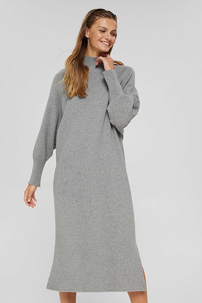 Knit dress with LENZING™ ECOVERO™, MEDIUM GREY, detail image number 0
