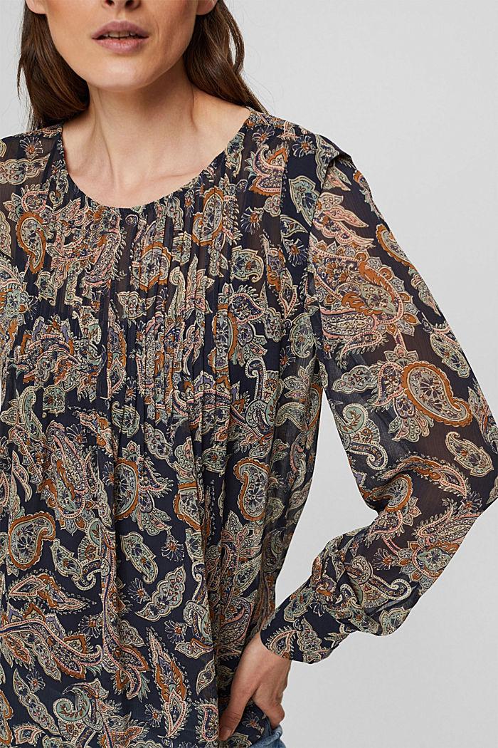 Recycelt: Chiffon-Bluse mit Paisley-Print, NAVY, detail image number 2