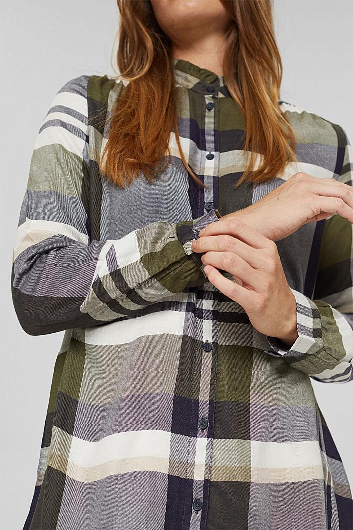Long-Bluse mit Rüschen, LENZING™ ECOVERO™, DARK KHAKI, detail image number 2