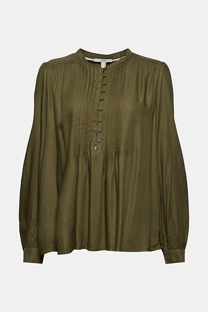 Tunic blouse with pintucks