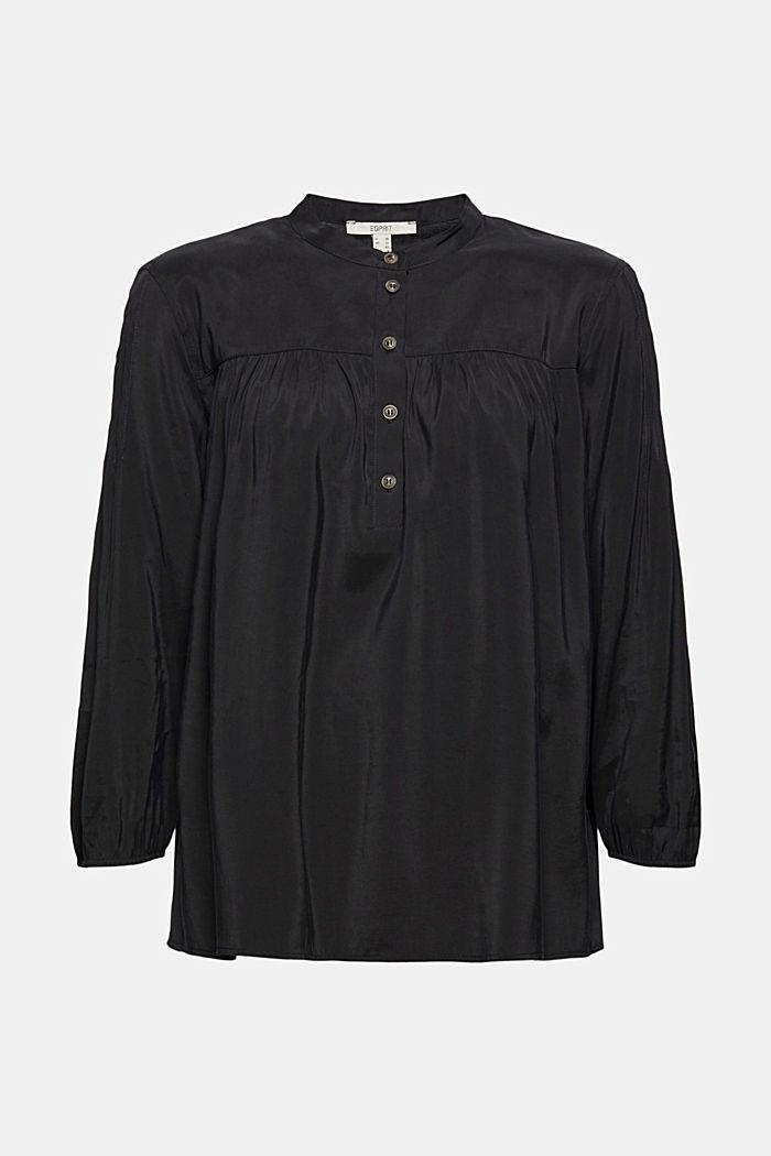 Shiny Henley-Bluse mit LENZING™ ECOVERO™, BLACK, detail image number 5