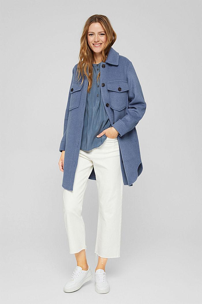 Shiny Henley-Bluse mit LENZING™ ECOVERO™, GREY BLUE, detail image number 1