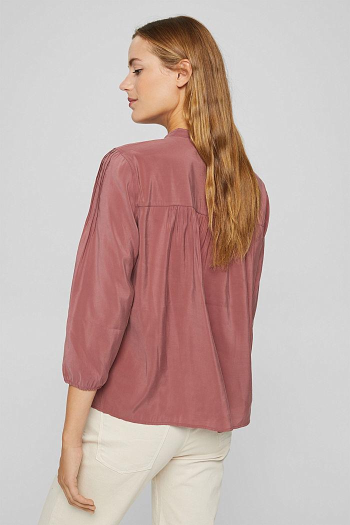 Glanzende henley-blouse met LENZING™ ECOVERO™, DARK OLD PINK, detail image number 3