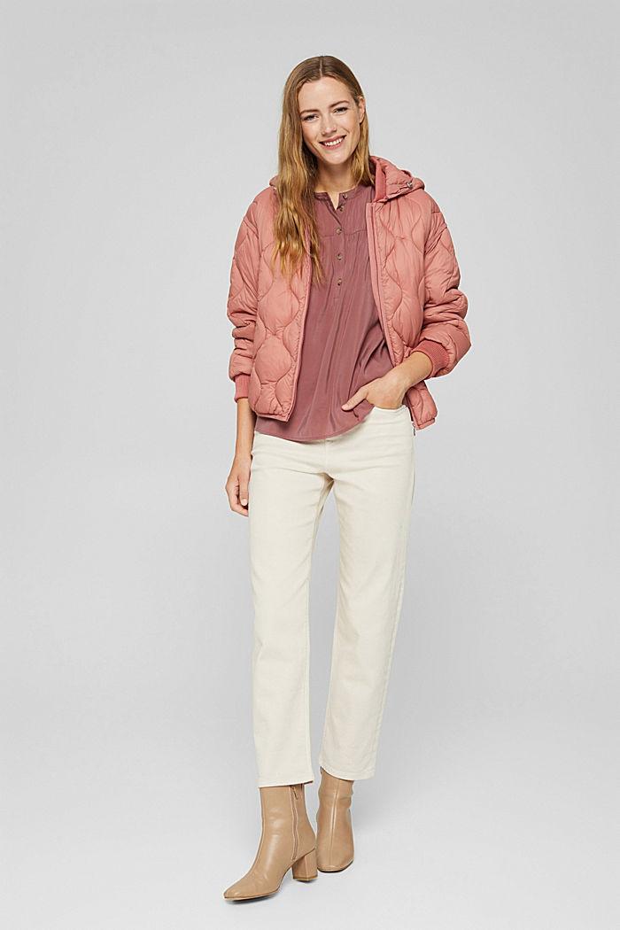 Glanzende henley-blouse met LENZING™ ECOVERO™, DARK OLD PINK, detail image number 1