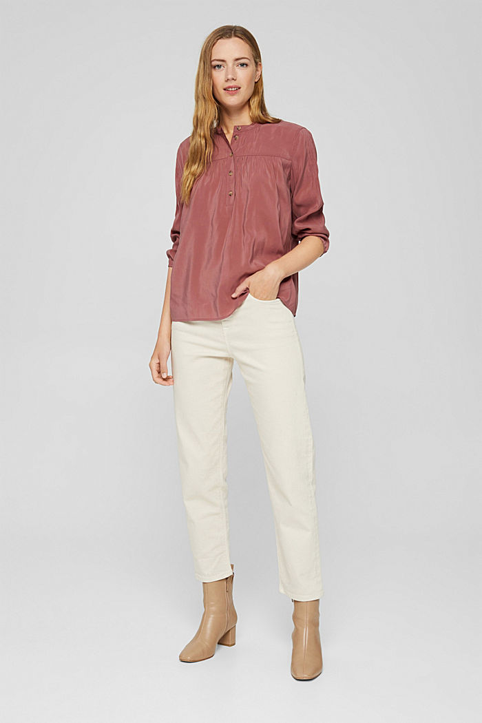Glanzende henley-blouse met LENZING™ ECOVERO™, DARK OLD PINK, detail image number 6