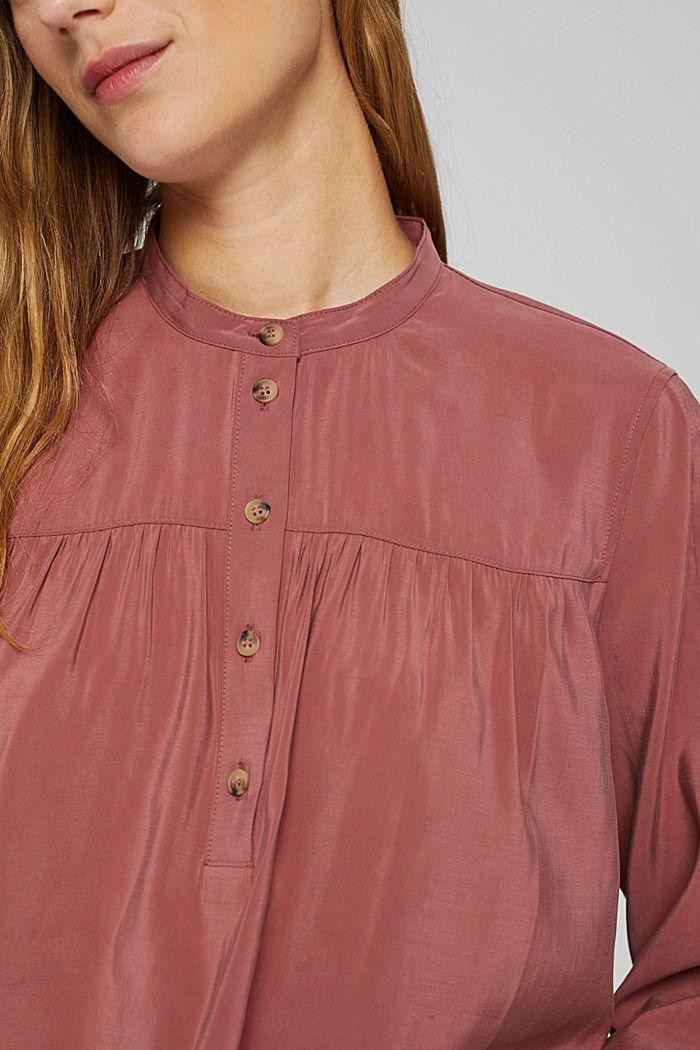 Glanzende henley-blouse met LENZING™ ECOVERO™, DARK OLD PINK, detail image number 2