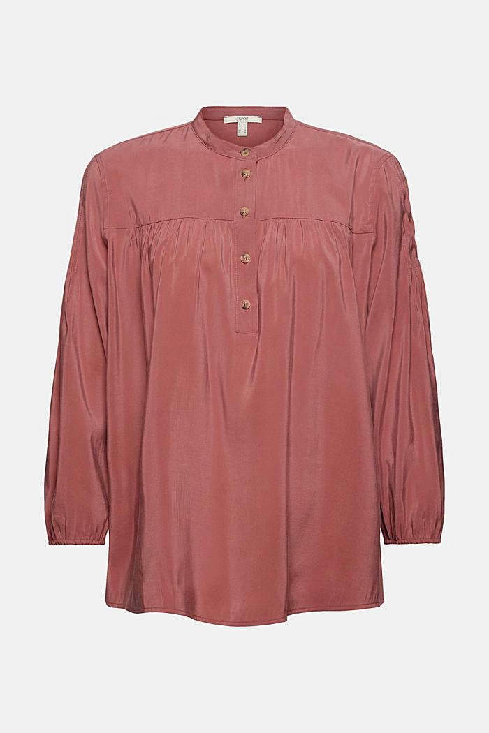 Glanzende henley-blouse met LENZING™ ECOVERO™, DARK OLD PINK, detail image number 7