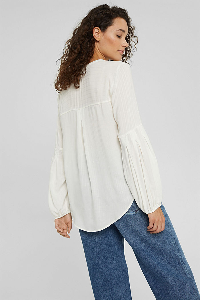 Bluse mit Struktur-Streifen, LENZING™ ECOVERO™, OFF WHITE, detail image number 3