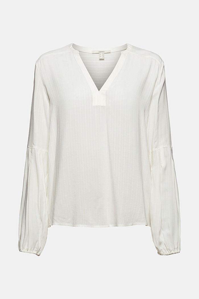 Bluse mit Struktur-Streifen, LENZING™ ECOVERO™, OFF WHITE, detail image number 6