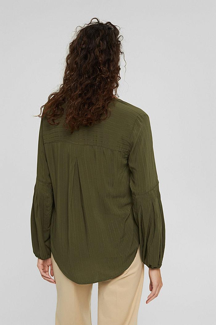 Bluse mit Struktur-Streifen, LENZING™ ECOVERO™, DARK KHAKI, detail image number 3