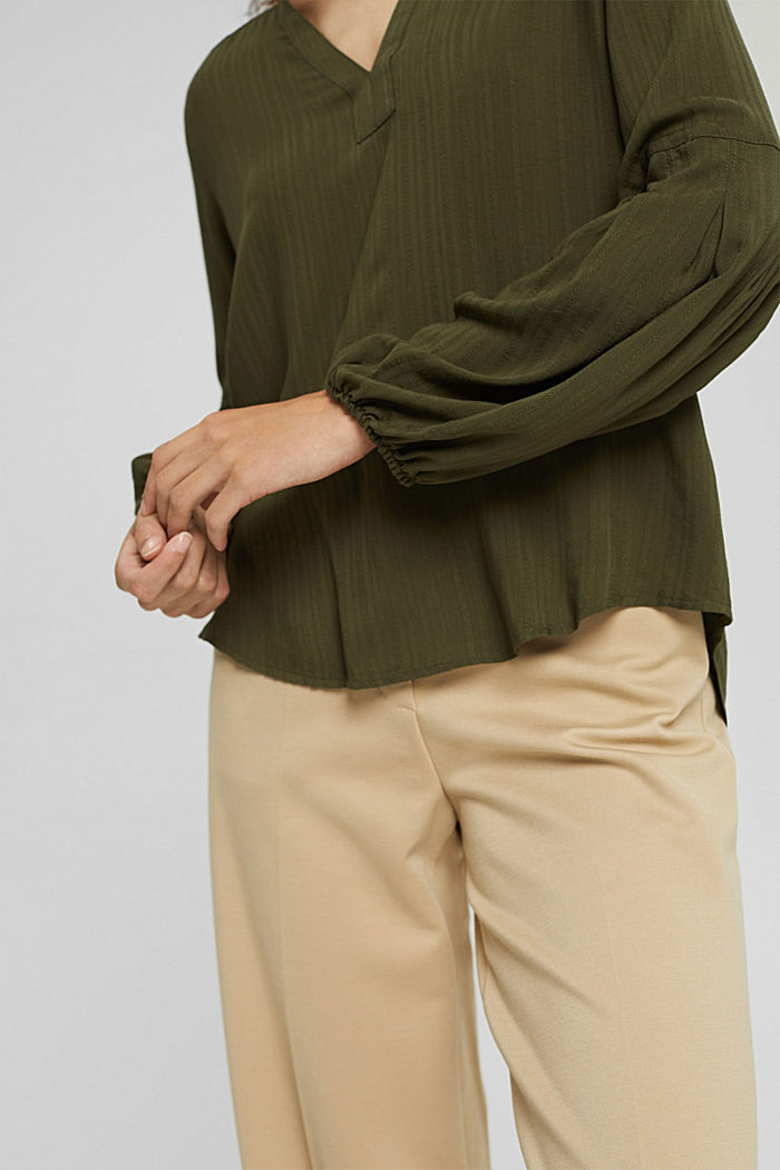 Bluse mit Struktur-Streifen, LENZING™ ECOVERO™, DARK KHAKI, detail image number 2