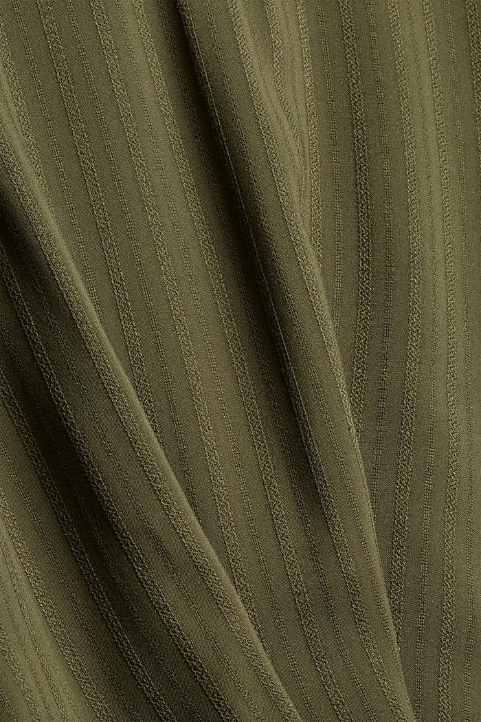 Bluse mit Struktur-Streifen, LENZING™ ECOVERO™, DARK KHAKI, detail image number 4