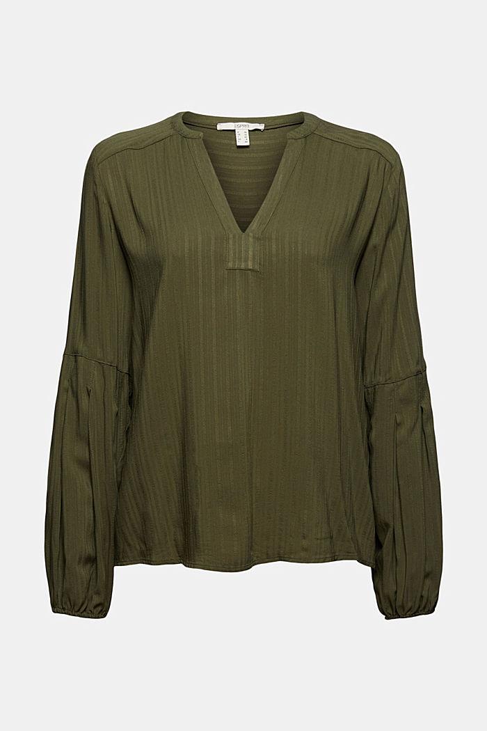 Bluse mit Struktur-Streifen, LENZING™ ECOVERO™, DARK KHAKI, detail image number 6